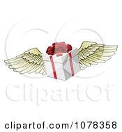 Clipart 3d Winged Gift Box With A Red Bow Royalty Free Vector Illustration