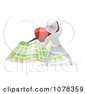 Clipart 3d Silver Person Pinning A Location On A Map Royalty Free Vector Illustration