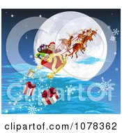 Clipart Santa And His Reindeer Flying Against A Full Moon And Dropping Christmas Gifts Royalty Free Vector Illustration