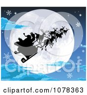 Clipart Silhouetted Santa Sled And Reindeer Against A Full Moon On A Snowy Christmas Eve Royalty Free Vector Illustration
