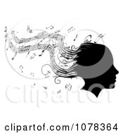Clipart Silhouetted Womans Head With Music Sheet Hair Royalty Free Vector Illustration