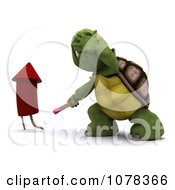 3d Tortoise Turning Away After Lighting A Fourth Of July Firework