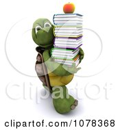 3d Tortoise Carrying A Stack Of School Books
