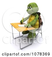 3d Tortoise Student Writing At A Desk