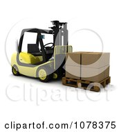 3d Forklift Loaded With Boxes