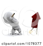 Clipart 3d White Character Plugging His Ears And Lighting A Firework Royalty Free CGI Illustration by KJ Pargeter