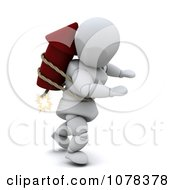 Clipart 3d White Character Strapped To A Rocket Firework Royalty Free CGI Illustration