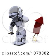 Clipart 3d Robot Turning Away After Lighting A Fourth Of July Firework Royalty Free CGI Illustration