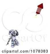 Clipart 3d Robot Lighting A Fourth Of July Firework Royalty Free CGI Illustration by KJ Pargeter