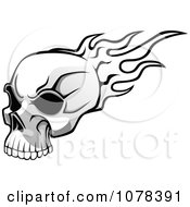 Clipart Black And White Flaming Skull With Dark Eye Sockets Royalty Free Vector Illustration