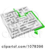 Poster, Art Print Of 3d White Maze With A Green Arrow Leading To The Way Out