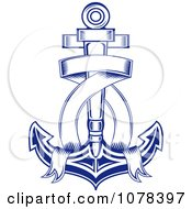 Clipart Blue Ribbon And Nautical Anchor Logo 1 Royalty Free Vector Illustration