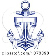 Clipart Blue Ribbon And Nautical Anchor Logo 2 Royalty Free Vector Illustration