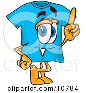 Blue Short Sleeved T Shirt Mascot Cartoon Character Pointing Upwards