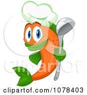 Orange Chef Fish Holding A Ladel
