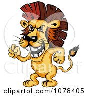 Clipart Mad Lion Standing Upright And Knocking Or Waving His Fist Royalty Free Vector Illustration
