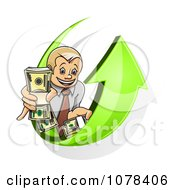 Clipart Businsesman Holding Bundled Cash On A Green Arrow Royalty Free Vector Illustration
