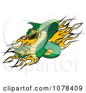 Clipart Aggressive Viper Snake And Flames Logo Royalty Free Vector Illustration