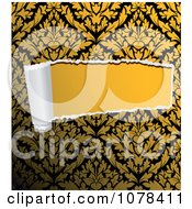 Clipart Rip Through Yellow And Black Damask Royalty Free Vector Illustration