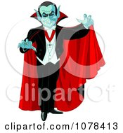 Clipart Dracula Vampire Reaching Out And Wearing A Red Cape Royalty Free Vector Illustration