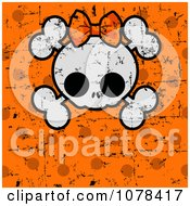 Halloween Skull And Cross Bones With A Bow Over Grungy Orange Polka Dots