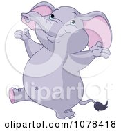 Clipart Cute Happy Purple Elephant Royalty Free Vector Illustration