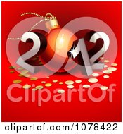 Clipart 3d Silver 2012 With A Bauble As The 0 And Gold Dots On Red Royalty Free Vector Illustration
