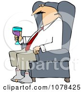 Clipart Tired Businessman Relaxing With Wine After A Long Day Royalty Free Vector Illustration