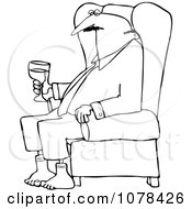 Clipart Outlined Businessman Relaxing With Wine After A Long Day Royalty Free Vector Illustration