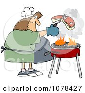 Clipart Woman Grilling Steak On A BBQ Royalty Free Vector Illustration by djart