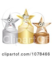 Clipart 3d First Second And Third Place Winner Stars On Gold Silver And Bronze Podiums Royalty Free Vector Illustration