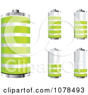 Clipart 3d Silver And Green Batteries At Different Charge Levels Royalty Free Vector Illustration