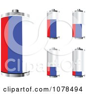 Clipart 3d Russian Flag Batteries At Different Charge Levels Royalty Free Vector Illustration by Andrei Marincas