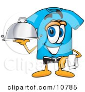 Clipart Picture Of A Blue Short Sleeved T Shirt Mascot Cartoon Character Dressed As A Waiter And Holding A Serving Platter by Toons4Biz