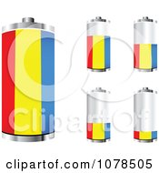 Clipart 3d Romanian Flag Batteries At Different Charge Levels Royalty Free Vector Illustration