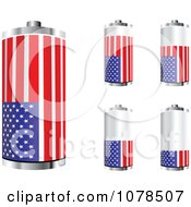 Clipart 3d American Flag Batteries At Different Charge Levels Royalty Free Vector Illustration