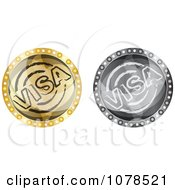 Clipart Silver And Gold Visa Icons Royalty Free Vector Illustration by Andrei Marincas