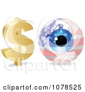 Clipart 3d Dollar Symbol And American Eye Globe Royalty Free Vector Illustration