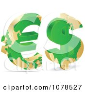 Clipart 3d Green Euro And Dollar Symbols With Gold Maps Royalty Free Vector Illustration by Andrei Marincas