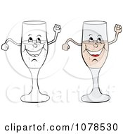 Clipart Colored And Outlined Happy Champagne Glasses Royalty Free Vector Illustration