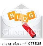 Clipart Pencil Writing In A Blog Envelope Royalty Free Vector Illustration by Andrei Marincas