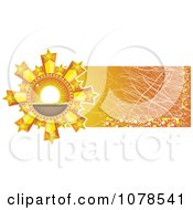 Clipart Starry Sunset Icon On A Scratched Orange Website Banner Royalty Free Vector Illustration