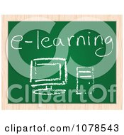 Clipart E Learning Pc Computer Drawing On A Chalk Board Royalty Free Vector Illustration