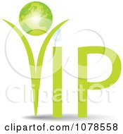 Clipart Green VIP Globe Dewy Plant Royalty Free Vector Illustration