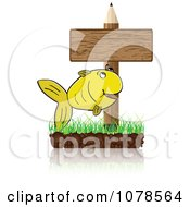 School Pencil Sign With A Fish On Grass