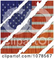Clipart White Tears Through A Wooden American Flag Royalty Free Vector Illustration