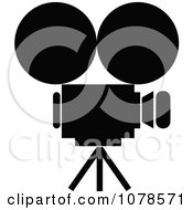 Clipart Silhouetted Movie Camera Royalty Free Vector Illustration