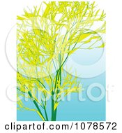 Yellow Bamboo Stalks And Leaves Over Gradient Blue
