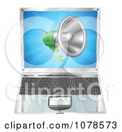 Clipart 3d Megaphone Over A Laptop Computer Royalty Free Vector Illustration by AtStockIllustration