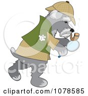 Clipart Detective Sherlock Holmes Schnauzer Dog Searching For A Clue Royalty Free Vector Illustration